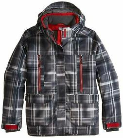 Boulder Gear Boys Coup Jacket, Gray Shadow Plaid/Red Racer,