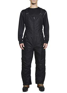 Swiss Alps Mens Deep Black Insulated Zip-Up Ski Bib Pants, L