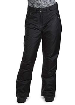 Swiss Alps Womens Deep Black Insulated Zip-Up Ski Snow Pants