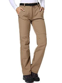 Women's Fleece-Lined Soft Shell Pants Insulated Water and Wi