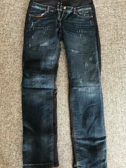 Bogner Janna Distressed Denim Print Ski Pants .Size:8 Long.N