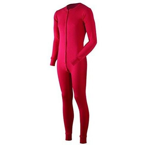 ColdPruf Men's Dual Layer Long Sleeve Union Suit, Red, X-Lar