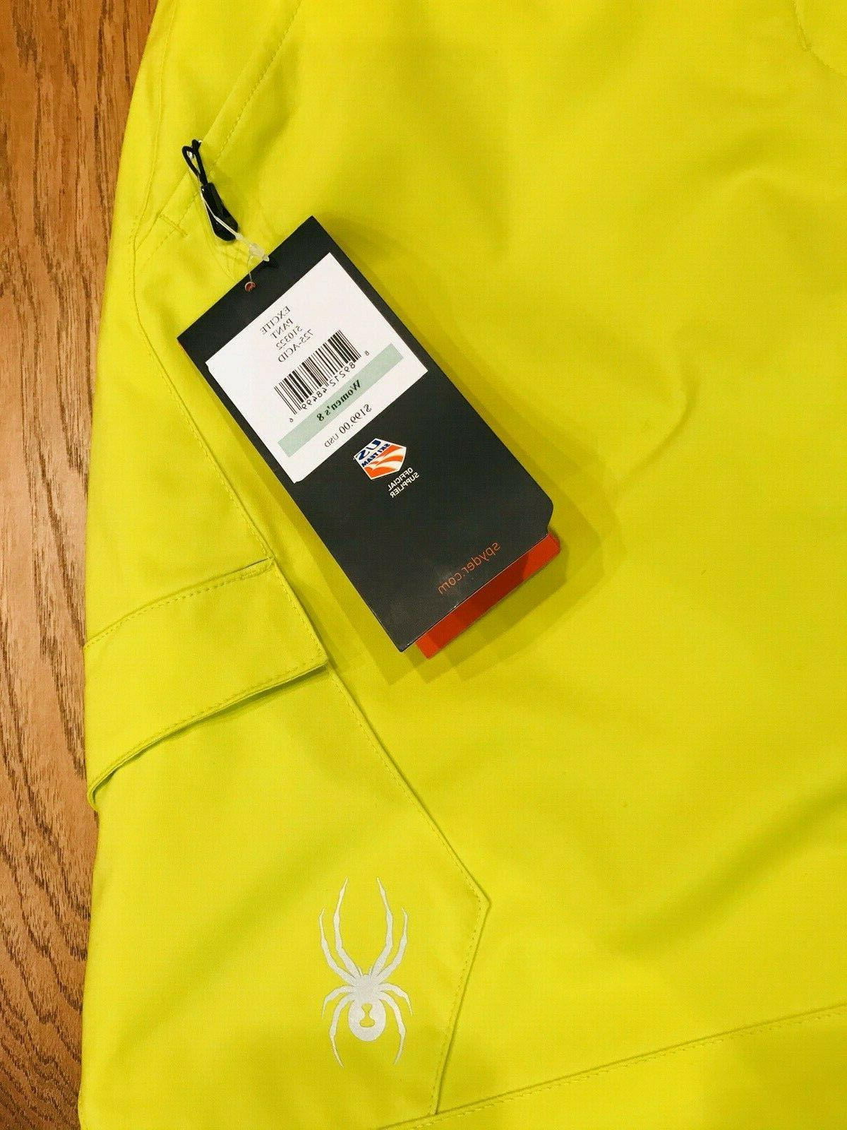 Spyder Excite Snowboard Pants Bright Acid Yellow NEW