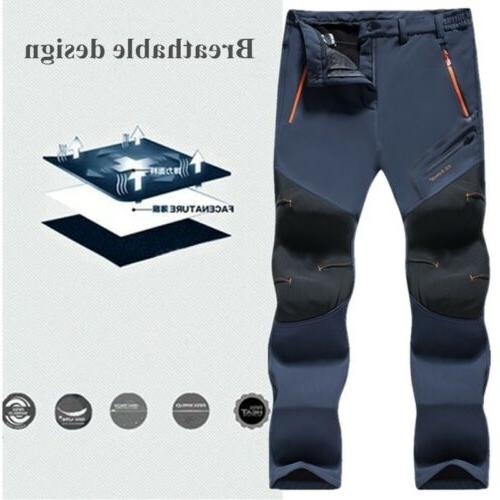Men's Winter Thick Fleece Windproof Skiing Hiking Pants