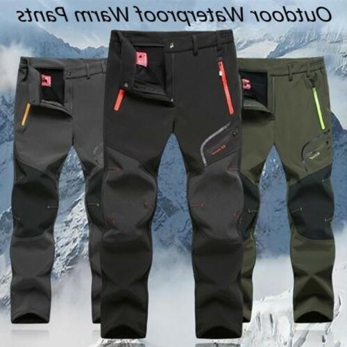 Waterproof Trousers Hiking Pants Softshell Men Trekking Fleece Warm Ski
