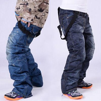 Men's Waterproof Ski Denim Jeans Trousers