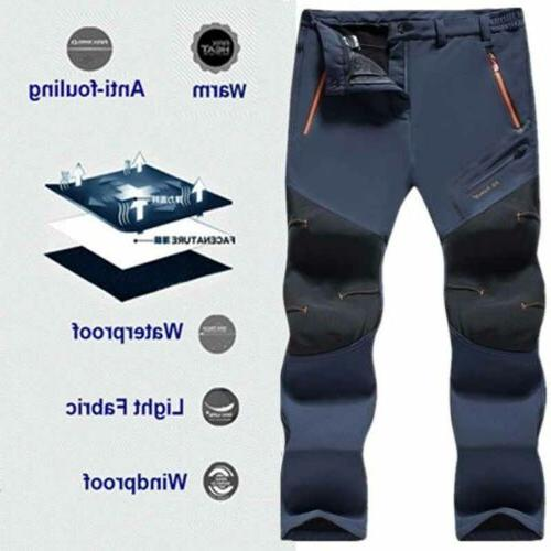 Men's Waterproof Thick Fleece Hiking Rain Pants