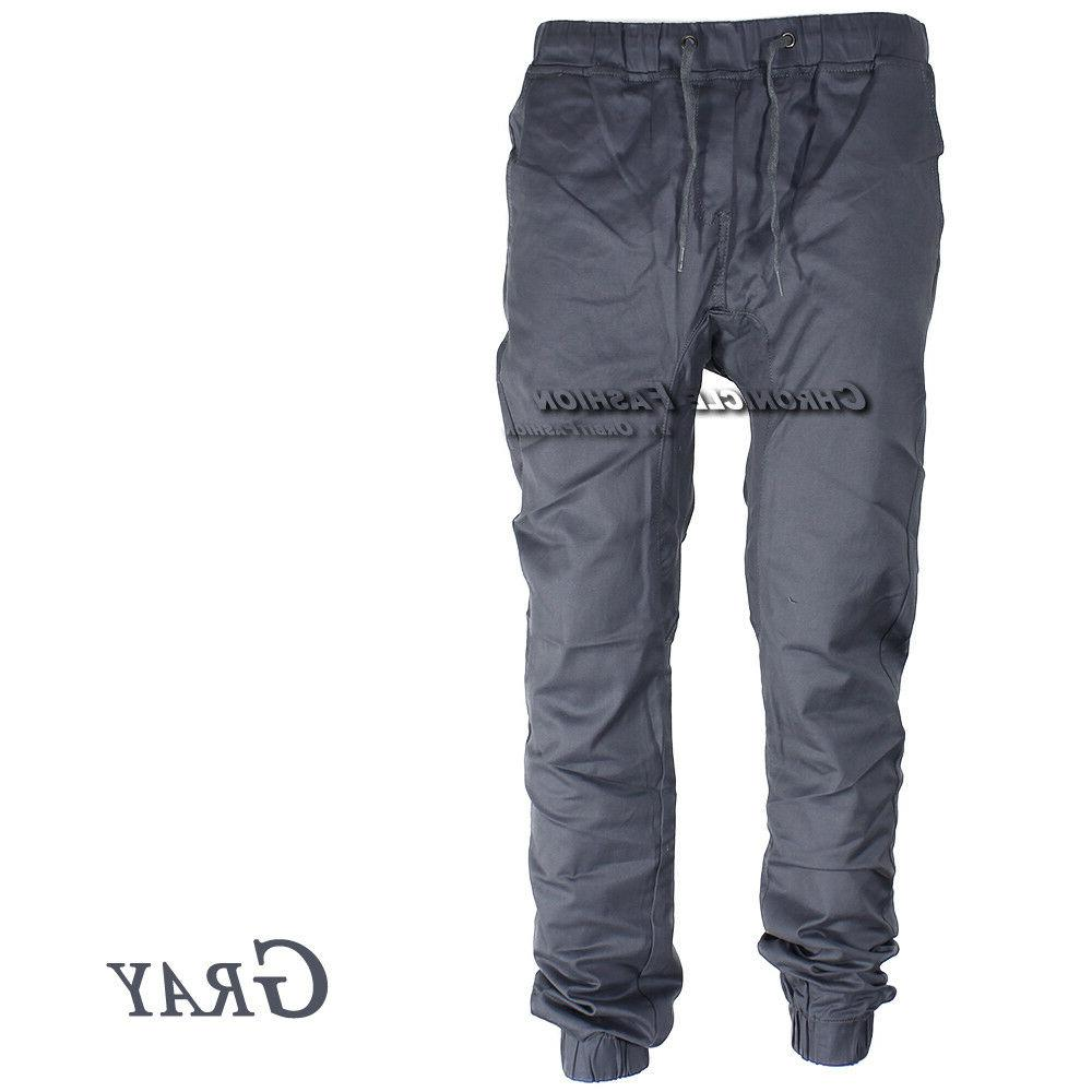 Mens Pants Twill Joggers Hip Trousers