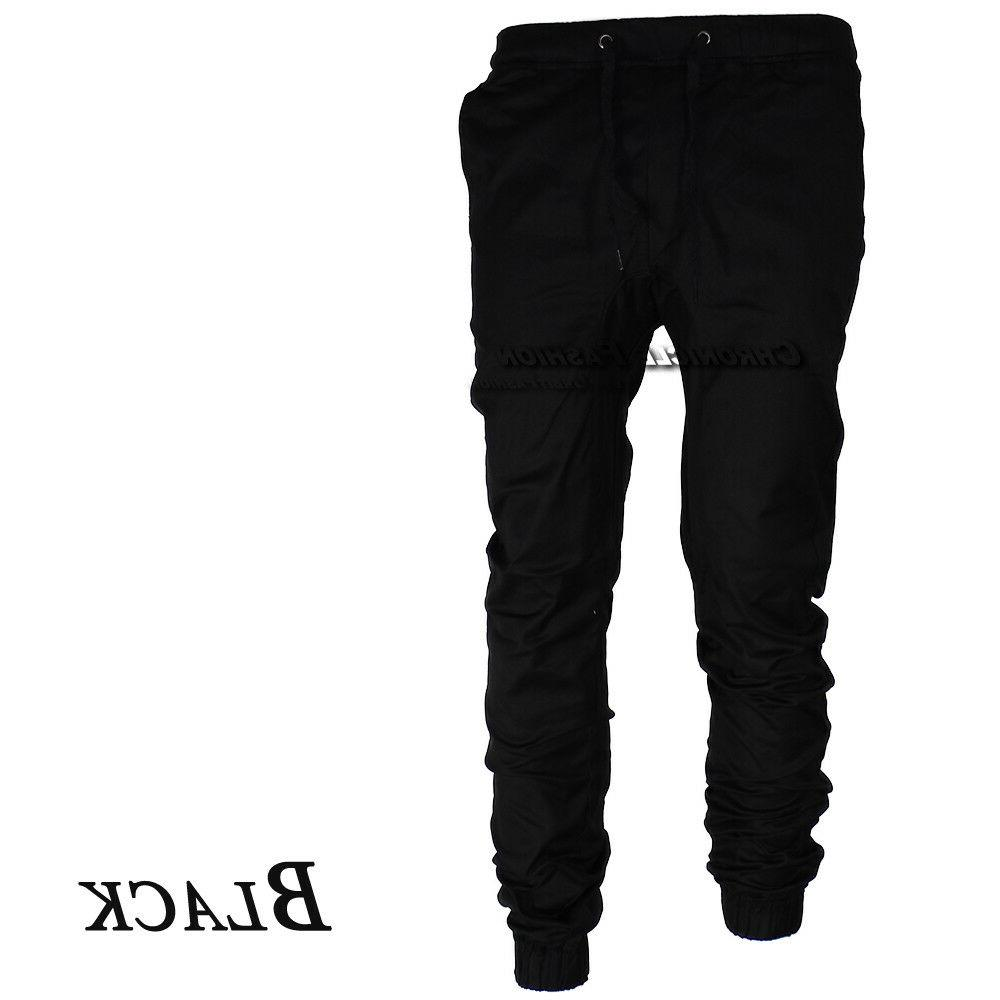 Mens Pants Twill Joggers Jogger Fit Trousers