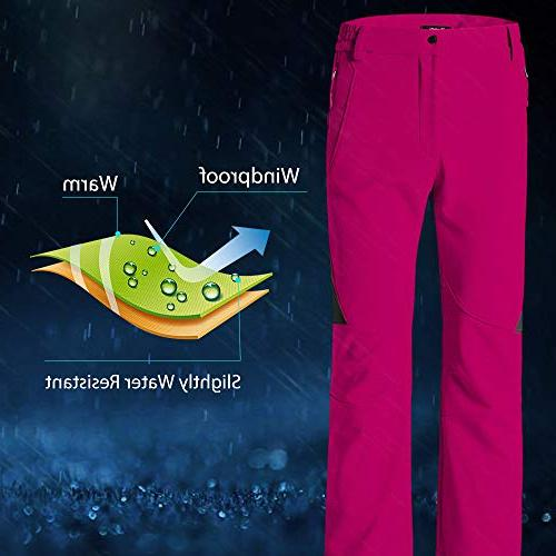 Wantdo Women's Ski Insulated Softshell Windproof Pants Red US XL