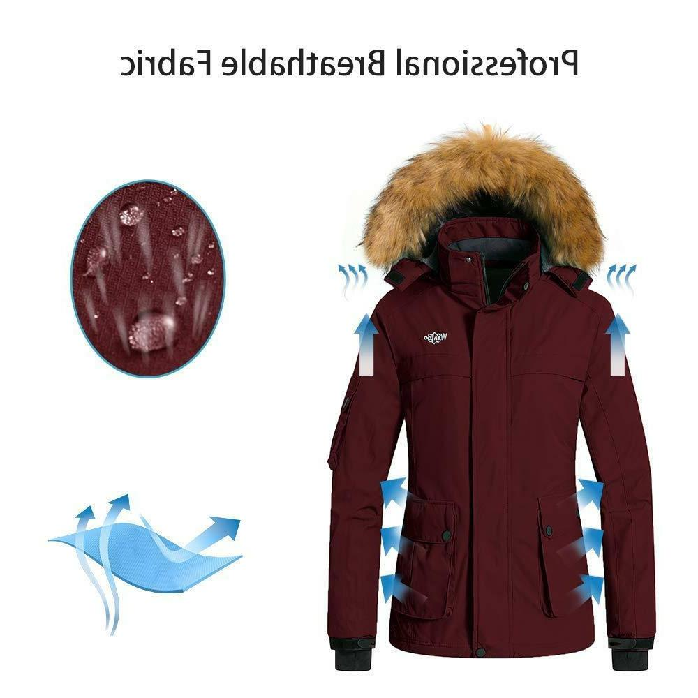 Wantdo Women's Warm Mountain Ski Jacket Waterproof Windproof