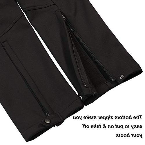 Men's Fleece Lined Pants Softshell Outdoor Ski Resistant Trousers