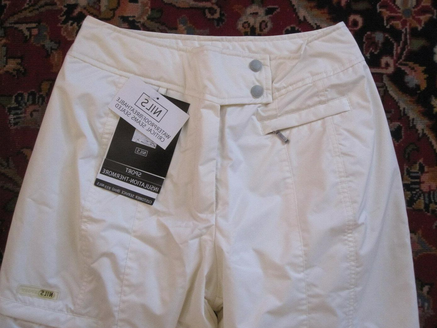 NILS WATERPROOF SNOW SKI PANTS WHITE size 10 W/TAGS!