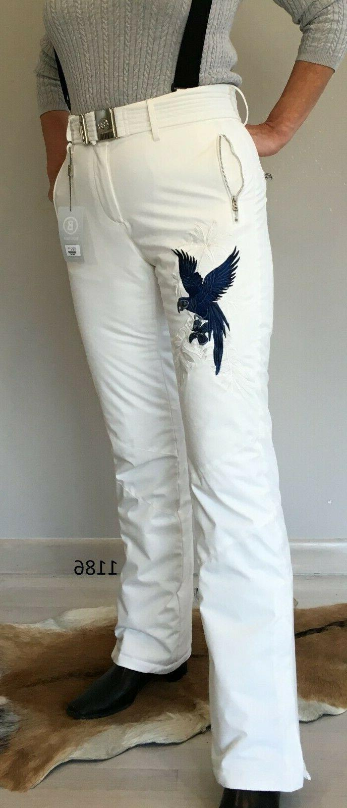 women insulated ski pants white with embroidery