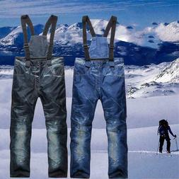 Men's Ski Snow Pants Denim Warm Waterproof Outdoor Snowboard