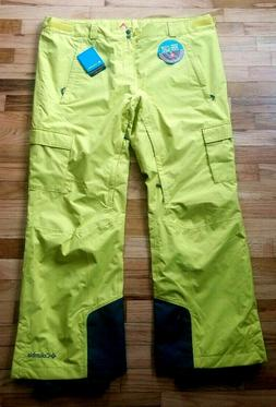 NWT COLUMBIA MEN'S RIDGE 2 RUN ll SKI SNOW PANTS ACID YELLOW