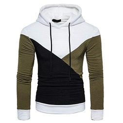GOVOW Men's Patchwork Hoodie Workwear Midweight Jersey Pocke