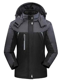 Abetteric Mens Plus Size Stand Collar Fleece Lined Snowboard