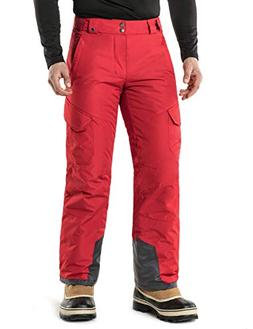 TM-YKB83-RED_Medium Tesla Men's Cargo Rip-Stop Snow Pants Wi