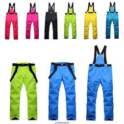 Women Mens Windproof Overall Ski Snow Pants Insulated Waterp