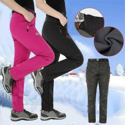 Women's Windproof Thick Fleece Pants Ski Waterproof Winter W