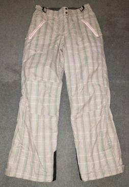 Columbia Youth Snow Pants, L  pink plaid, water resistant